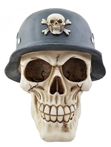 Schädel Sparkasse mit deutschem Stahlhelm Totenkopf Totenschädel Figur