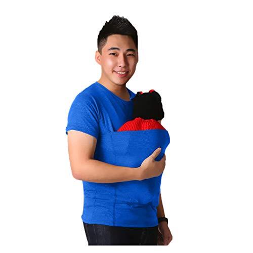 Riou Trageshirt Baby Herren mit Känguru Babytrage 2 in 1 Multi-Funktion Sommer Kurzarm T-Shirt (L, Grau)