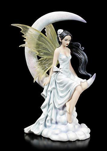 Nene Thomas Fantasy Statuetta Elfo Seduto su Falce Luna - Frost Luna   Feenstatue, Figura Decorativa, Dipinto a Mano, Motivo
