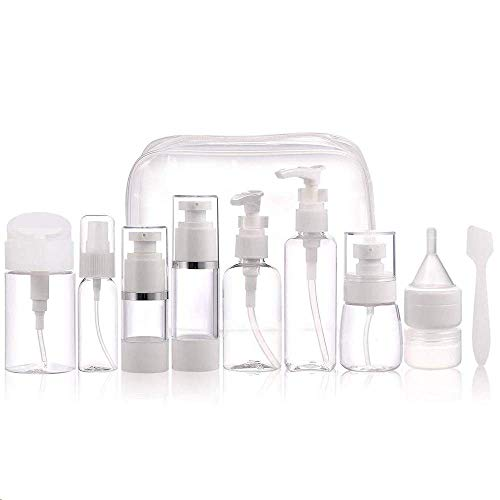 Travel Bottles Set 12 Pcs With Cosmetic Containers (20G) Portable 100% Leak Proof Refillable Toiletry Containers - Squeezable Tubes for Shampoo, Conditioner & Lotion Cosmetic Makeup with toiletry Bag