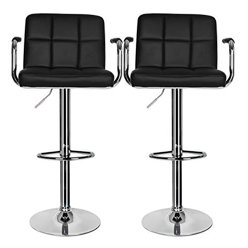 Bar Stools Set of 2, Breakfast Bar Stool with Armrest and Back Swivel Gas Lift Leather Kitchen Bar Stool for Breakfast Bar/Counter/Kitchen Home Furniture