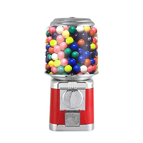 IRONWALLS Gumball Candy Vending Machine Capsule Bouncy Ball Gumball Commercial Dispenser Machine with Key Lock for 2532mm Candy Durable Removable Metal Body Red
