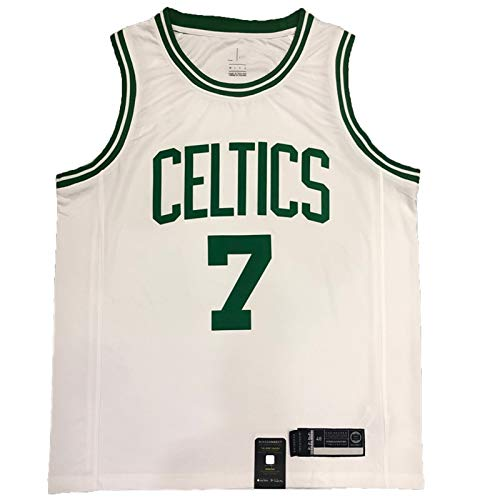 Retro Basketball Jersey, Brown No. 7 Game Basketball Jersey, Celtic Fan Basketball Shirt, Polyester Mesh, Used for Training and Competition White-L