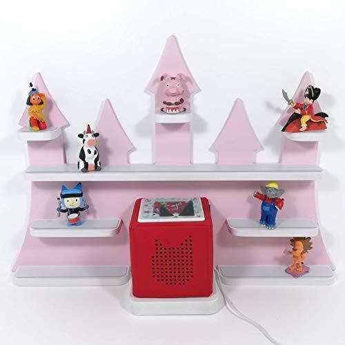 Tonie Regal, Schloß in rosa mit weißen Regalen, ideale Aufbewahrung für Tonie Box und Tonie Figuren, Kinderzimmer Regal, Deko Board, Musikboxaufbewahrung, Hängeregal