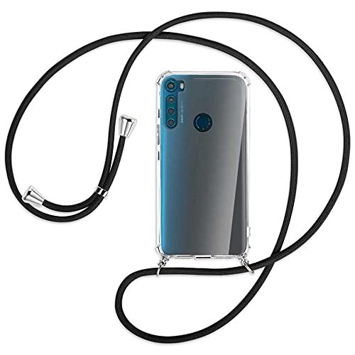 mtb more energy® Handykette kompatibel mit Motorola One Fusion Plus, One Fusion+ (6.5'') - schwarz - Smartphone Hülle zum Umhängen - Anti Shock Full TPU Hülle