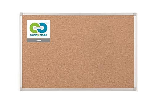Bi-Office Earth - Umweltfreundliche Pinnwand, Korktafel mit Aluminiumrahmen, Hochwertige Naturkorkoberfläche - 90 x 60 cm