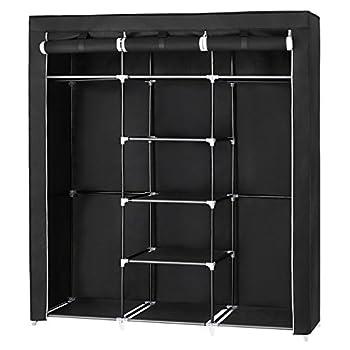 SONGMICS Portable Clothes Closet Non-Woven Fabric Wardrobe with 2 Hanging Rods 9 Storage Shelves Storage Organizer Black URYG12H