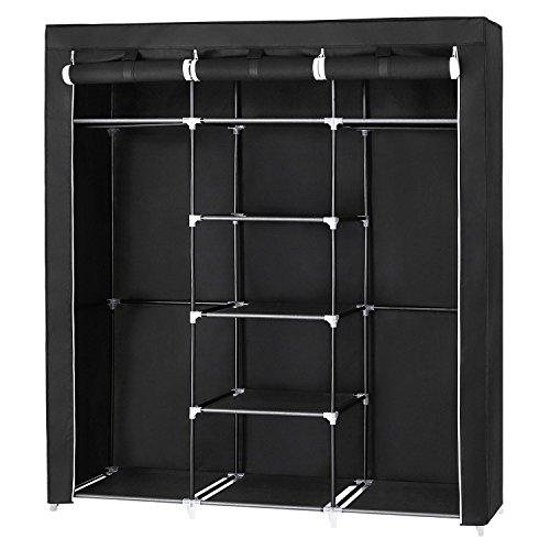 SONGMICS Armario Closet organizador Textil Plegable Color Negro 175 x 150 x...