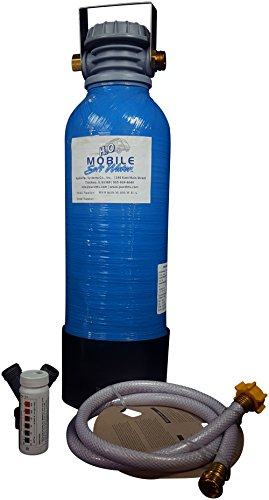 Mobile-Soft-Water Premier 8,000 gr RV Water Softener - Lead Free Brass GH Fittings - Portable - Manual Regenerate for RV, Cabins, Tiny Homes with Pictured Accessories
