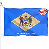 DFLIVE Double Sided Delaware State Flag 3x5ft Heavy Duty 3 Ply Polyester DE Diamond State Flags Indoor and Outdoor Use