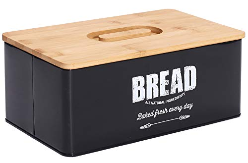 High Capacity Modern Bread Box with Eco Bamboo Cutting Board Lid, Bread Storage for Kitchen Countertop
