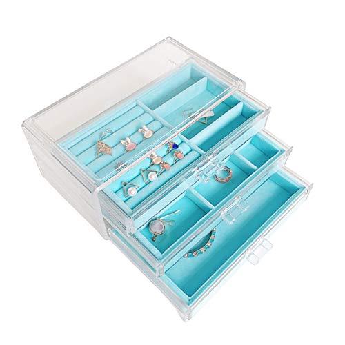 SIJI Soporte De Exhibición De Joyas Joyería De Acrílico Transparente con Bandeja Caja De Almacenamiento De Joyería A Prueba De Polvo (Color : Blue)