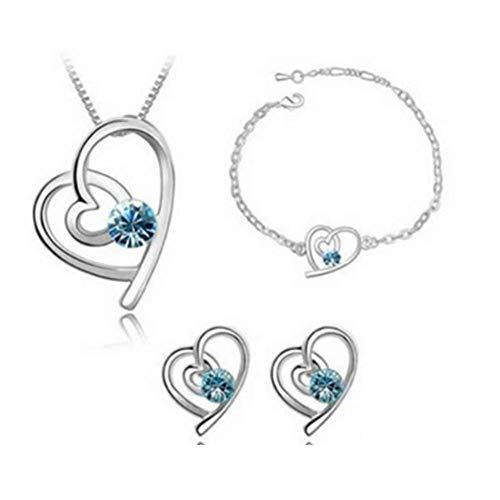 Cosanter Tres piezas mar azul collar de cristal austriaco + Stud pendientes + pulsera linda chica pendientes (venta)