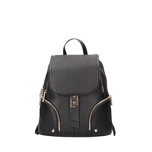 Zaino Liu-Jo backpack M con pattina ecopelle nero donna B21LJ22