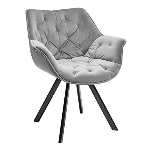 Invicta Interior Samt Stuhl The Dutch Comfort grau gepolstert mit Armlehne Esszimmerstuhl Besucherstuhl Retro