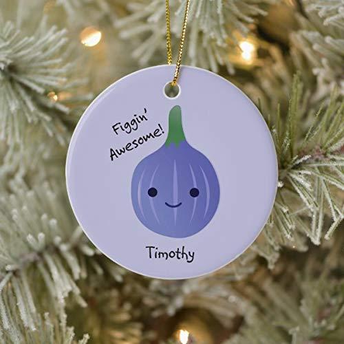 Lplpol Christmas New Year Ornament figgin Awesome Fig Pun Ceramic Ornament Ceramic Ornament for Christmas Tree Decoration