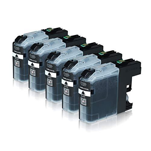 Logic-Seek 5 Tintenpatronen kompatibel für Brother LC-123 LC123 LC-121 LC-127 LC-125 XL für Brother MFC-J470DW MFC-J870DW DCP-J552DW - Schwarz je 20ml mit Chip
