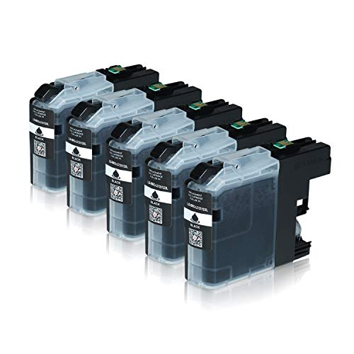 Logic-Seek 5 Tintenpatronen kompatibel für Brother LC-123 LC123 LC-121 LC-127 LC-125 XL für Brother MFC-J470DW MFC-J870DW DCP-J552DW - Schwarz je 20ml mit Chip