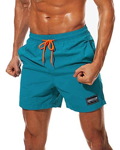 iMixCity Hombre Bañadores de Natación Pantalones Cortos Baño Bóxers Playa Shorts (Azul Pavo Real, EU L =Tag XL)