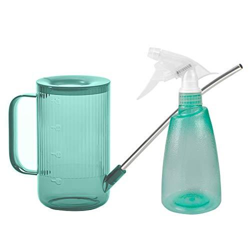 Surmounty Regadera + botella pulverizadora, 2 unidades, incluye regadera con boquilla larga, botella de pulverización de agua, para casa, jardín, flores, plantas de interior