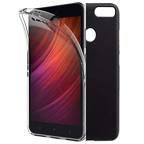 iGlobalmarket Funda para Xiaomi Redmi Note 5A Prime - Carcasa Completa [360] de [Silicona] para móvil - (Transparente Frontal + Trasera Negro)