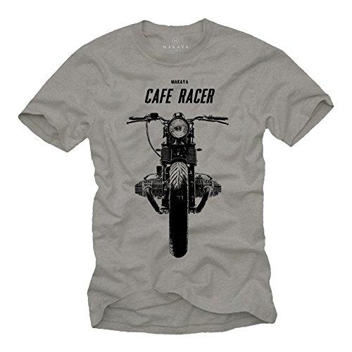 MAKAYA Maglietta Uomo - Cafe Racer R100 - T-Shirt Moto Regalo Motociclista Nera Taglia L