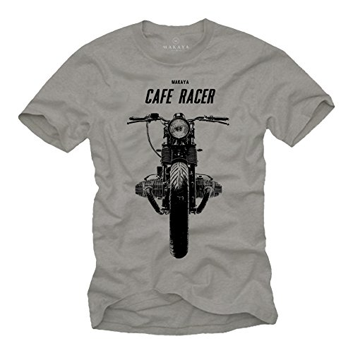 Cafe Racer T-Shirt Boxer Twin Motorrad grau Herren Größe L