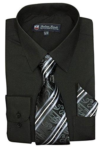 "Fortino Landi Men's Long Sleeve Dress Shirt with Matching Tie and Handkerchief (15-15.5"" Neck 34/35"" Sleeve (Medium), Black)"