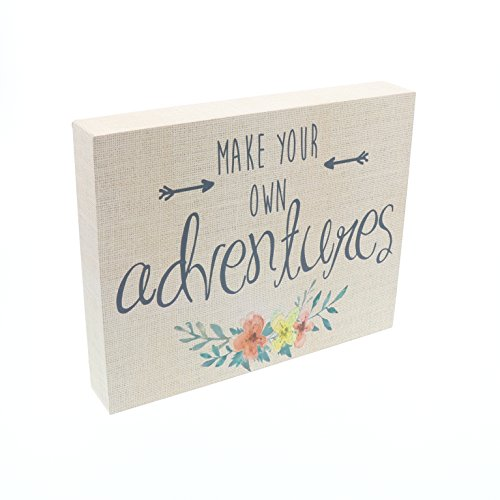 Barnyard Designs Make Your Own Adventures Box Sign, Primitive Country Farmhouse Home Decor Sign with Sayings 10 x 8