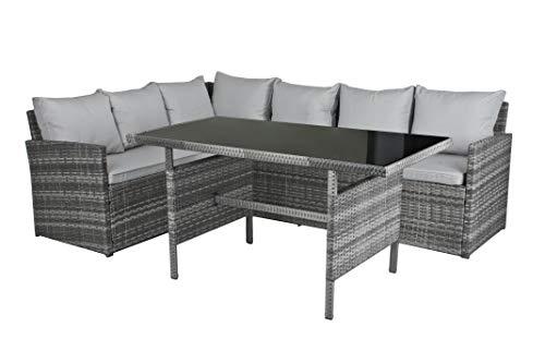 Garden Pleasure Gartenmöbel Set Lounge-Eckgruppe GIRONA, 3-teilig, Stahl, Kunststoffgeflecht, Grau