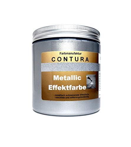 CONTURA Effektfarbe Silber 250ml Metallic Effekt Lack 35,80€/L Shabby Chic Farbe Schablone zum schablonieren Bastelfarbe