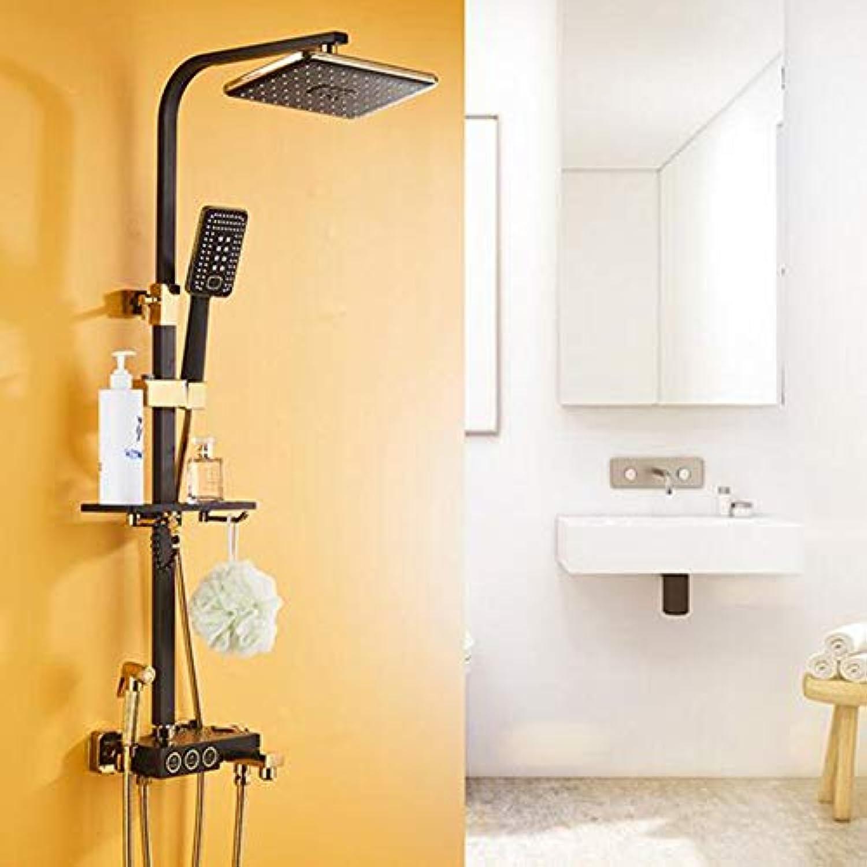 MICHEN Badezimmer-Duschset, schwarzes Gold- und WeiGoldkupferhahn, heie und kalte Modelle,schwarz