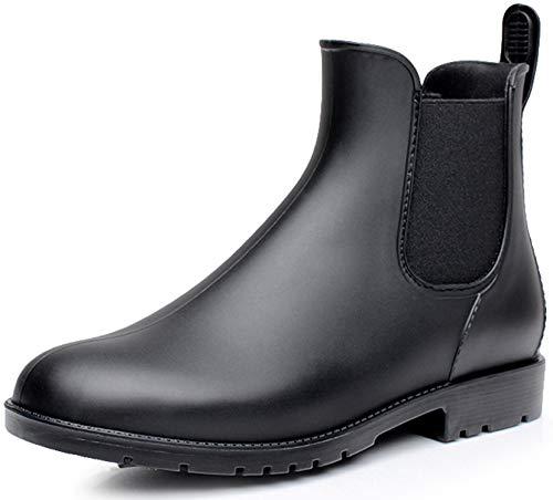 Nzcm Gummistiefel Damen Kurzschaft Regenstiefel Herren Wasserdicht Lack Regen Schuhe Ankle Chelsea Boots Gummi Stiefeletten mit Blockabsatz Schwarz Gr.43