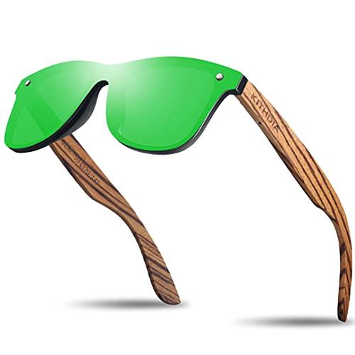 KITHDIA Polarizadas Unisex Gafas De Sol Hombre Mujer UV400 Protección Gafas De Sol De Madera S5029