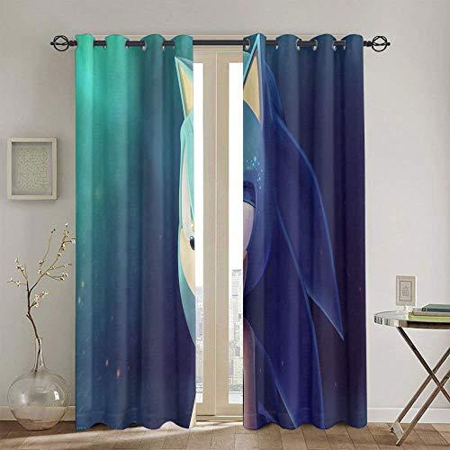 Cortinas con diseño de Sonic el erizo para dormitorio, cortina de ventana, tela de 160 x 160 cm