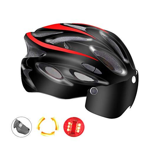 Kikier Goggles Mountainbike-Helm mit Licht, Fahrradhelm für Damen und Herren, Unisex, SO0149023_RD-1254-1157135041, rot, 54-62cm