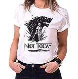 Not Today II - Camiseta para Mujer de Cuello Redondo Targaryen Thrones Game of Stark Lannister Baratheon Daenerys Khaleesi TV BLU-Ray DVD, Größe2:Medium, Farbe2:Blanco