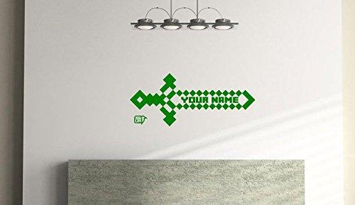 Wandtattoo-Aufkleber, Schwert-Stil, für Kinderzimmer, Schlafzimmer, Spielzimmer, Wand-Aufkleber aus Vinyl, Abmessungen 57cm x 24cm, personalisierbar grün