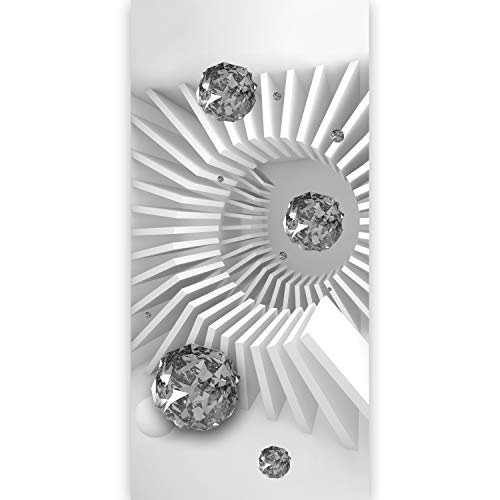 murando - Türtapete selbstklebend 100x210 cm Vliesleinwand Fototapete Tapete Türpanel Türposter Türaufkleber Türsticker Foto Bild Design 3D Diamant optische Täuschung weiß grau a-C-0075-a-b