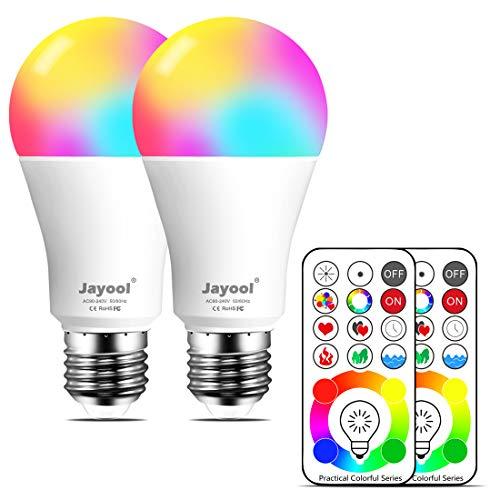 Jayool 10W E27 120 Couleurs LED RGBW Ampoule Changement de Couleur Télécommande (3ème génération), Timing et Dimmable RGB+lumière du Jour Blanc(6500K) Edison Screw (Lot de 2)
