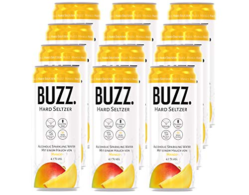 BUZZ. Hard Seltzer Mango; 4.1% vol. (12 x 0,33L) EINWEG (incl. Pfand)
