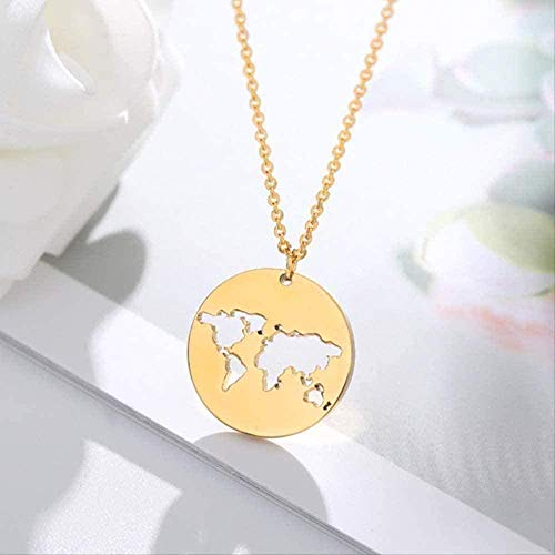 ZJJLWL Co.,ltd Necklace Necklace Geometry Necklace Round Pendant Necklace Gold Chian Stainless Steel Chian Simple World Map Chocker Necklace for Women Jewerly