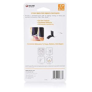 "VELCRO Brand 91878 - Sticky Back for Fabrics: No sewing needed - 24"" x 3/4"" Tape - Black"