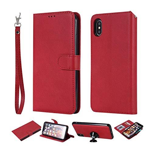 Funda de piel tipo cartera para Samsung Galaxy Note 9 8 5 S10E S10 S9 S8 Plus S7 Edge teléfono caso para iPhone 11 Pro XS Max XR 8 7 6S Plus-Red Para Samsung S8