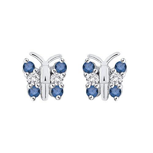 14K Blanco Oro 1/4CT. Azul y blanco diamante mariposa Pendientes