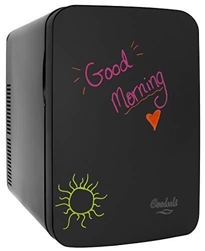 Cooluli Vibe Black 15 Liter Compact Portable Cooler Warmer Blackboard Mini Fridge for Bedroom, Office, Dorm, Car - Great for Skincare & Cosmetics (110-240V/12V)