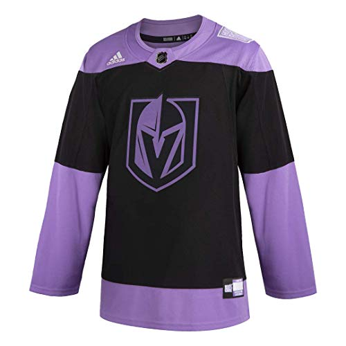 adidas Mens Vegas Golden Knights Authentic Hockey Fights Cancer Practice Jersey (52/L)
