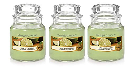Yankee Scented Candle - Lime Coriander - 104g (3) Small Jar Bundle