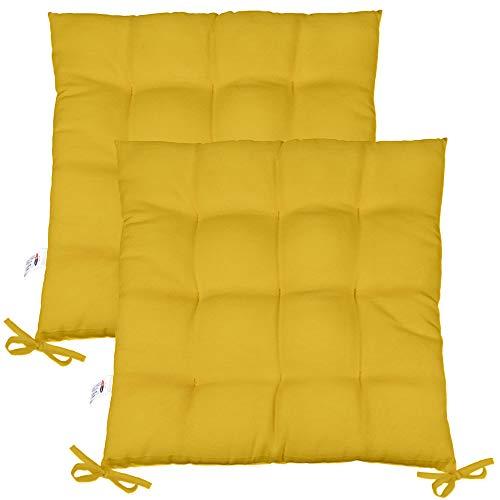 CelinaTex Yoyo Sitzkissen 2er-Set 40 x 40 cm gelb Gartenstuhlkissen mit Bänder Sitzauflage Garten Balkon Terrasse