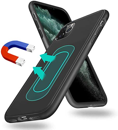 Magnetic Case for iPhone 11 2019, [Invisible Built-in Metal Plate] Ultra Thin Support Magnetic Car Mount,Soft TPU Shockproof Anti-Scratch 360 Protective Cover for Apple iPhone 11 Black